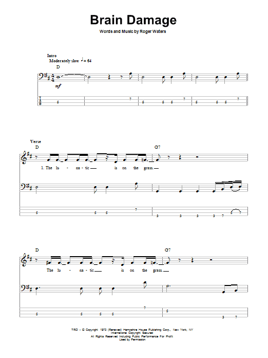 Brain Damage Sheet Music