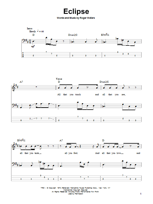 Eclipse (Bass Guitar Tab)