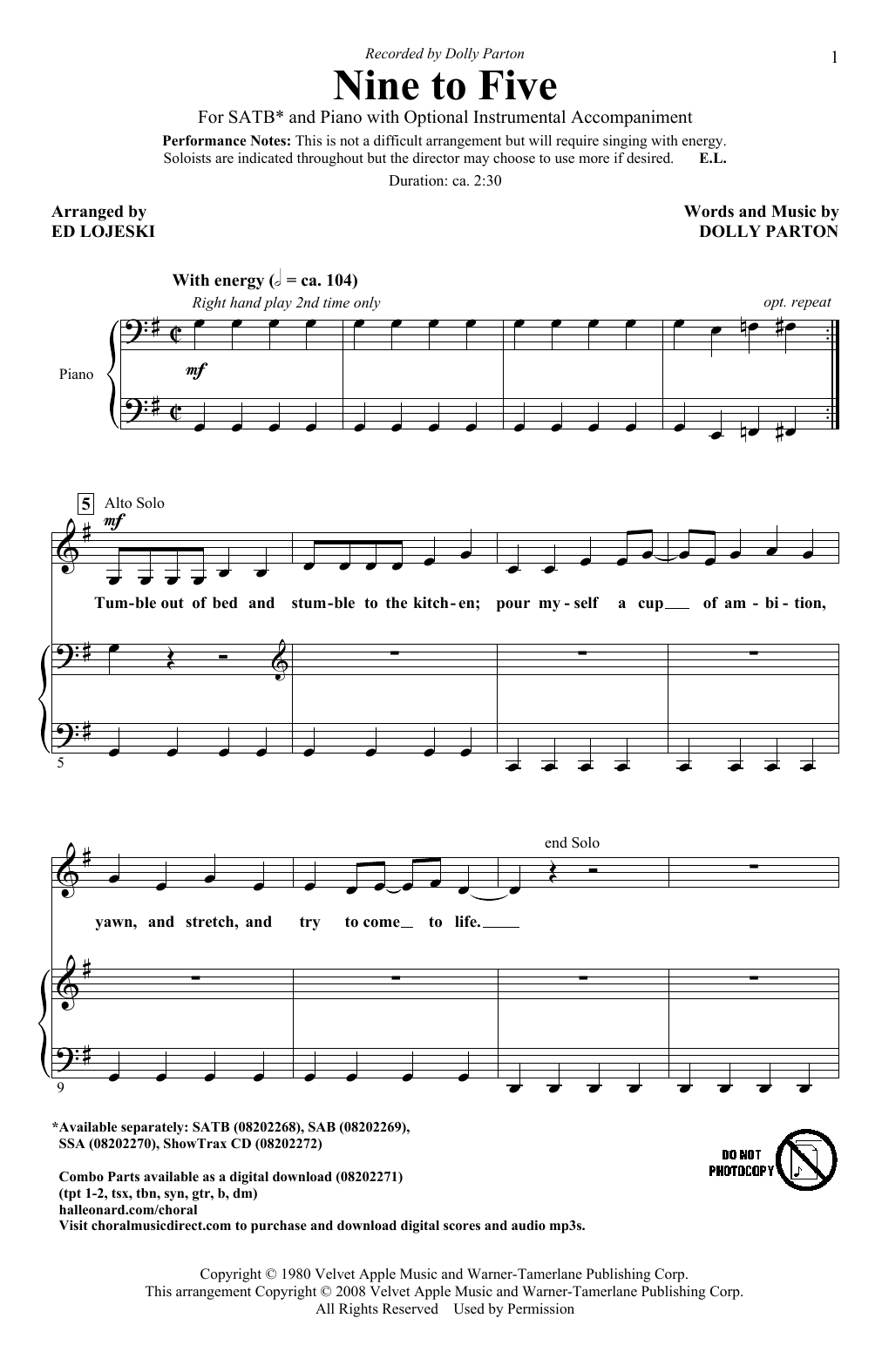 Partition chorale Nine To Five de Dolly Parton - SATB