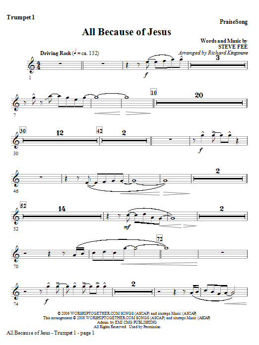 All Because Of Jesus - Trumpet 1 Sheet Music