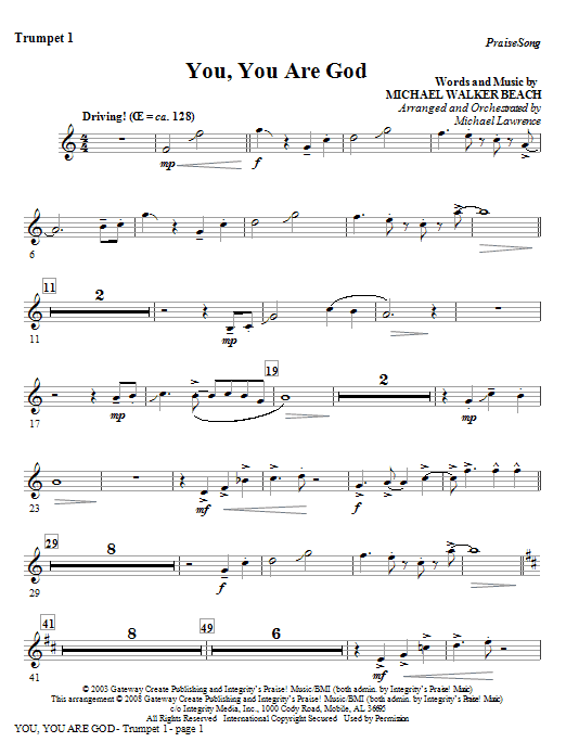 You, You Are God - Trumpet 1 Sheet Music