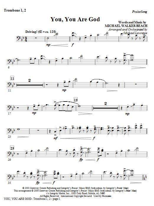 You, You Are God - Trombone 1,2 Sheet Music
