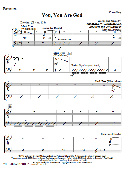 You, You Are God - Percussion Sheet Music