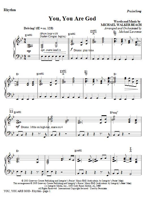 You, You Are God - Rhythm Sheet Music