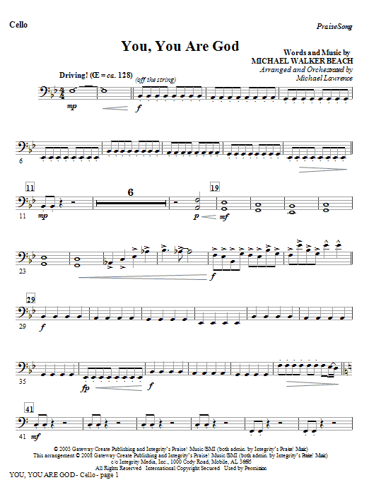 You, You Are God - Cello Sheet Music