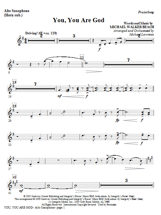You, You Are God - Alto Sax (Horn sub) Sheet Music