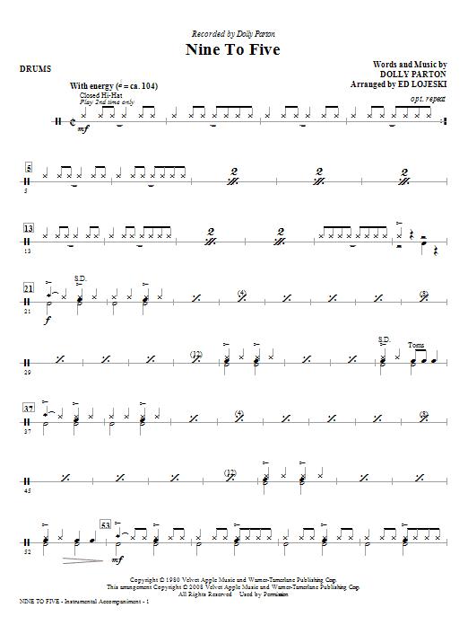 Nine To Five (arr. Ed Lojeski) - Drums (Choir Instrumental Pak)