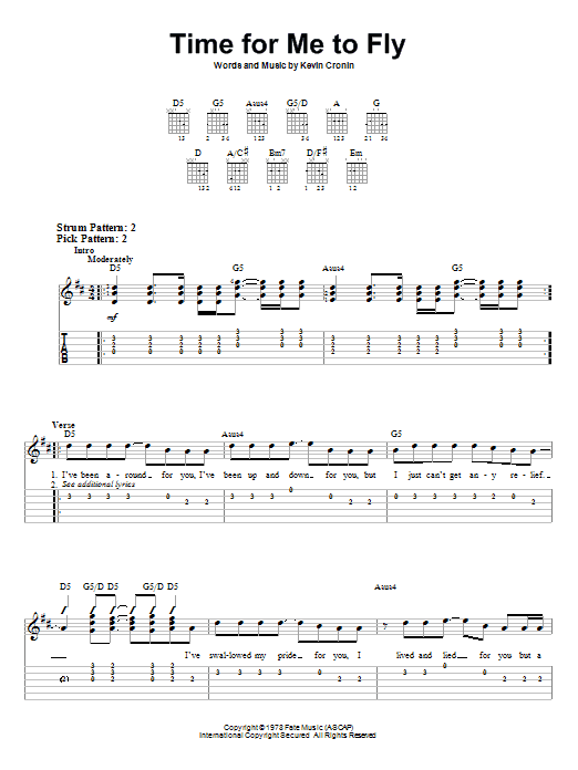 Time For Me To Fly (Easy Guitar Tab)
