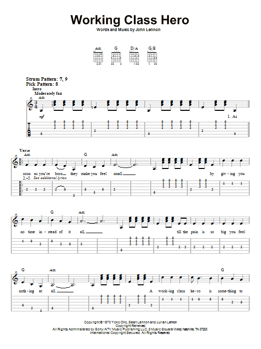 Tablature guitare Working Class Hero de John Lennon - Tablature guitare facile