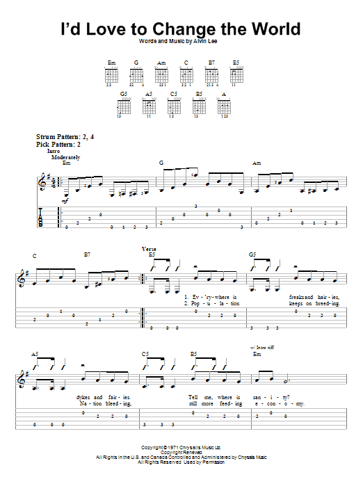 I'd Love To Change The World (Easy Guitar Tab)
