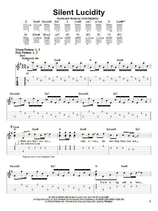 Silent Lucidity by Queensryche - Easy Guitar Tab - Guitar Instructor