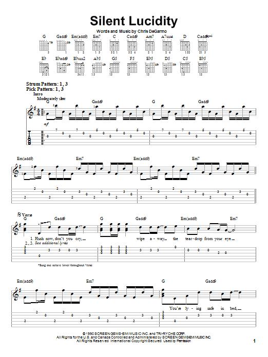 Tablature guitare Silent Lucidity de Queensryche - Tablature guitare facile