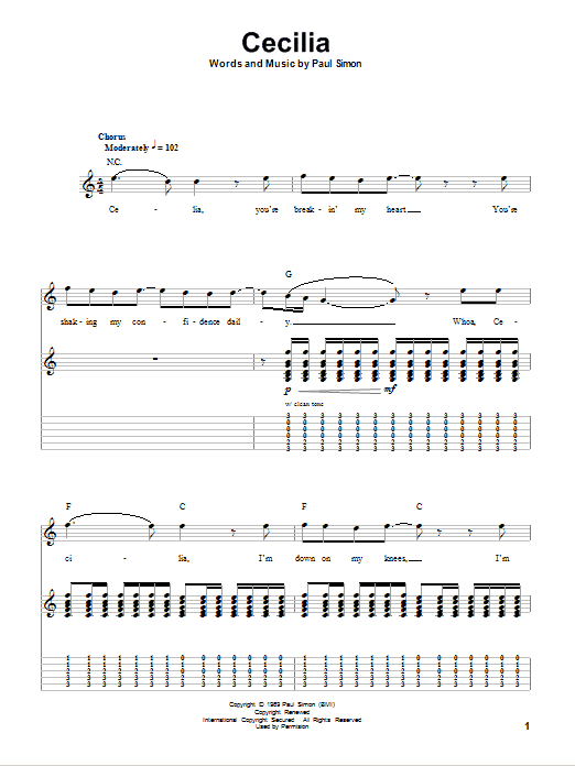 Tablature guitare Cecilia de Simon & Garfunkel - Autre