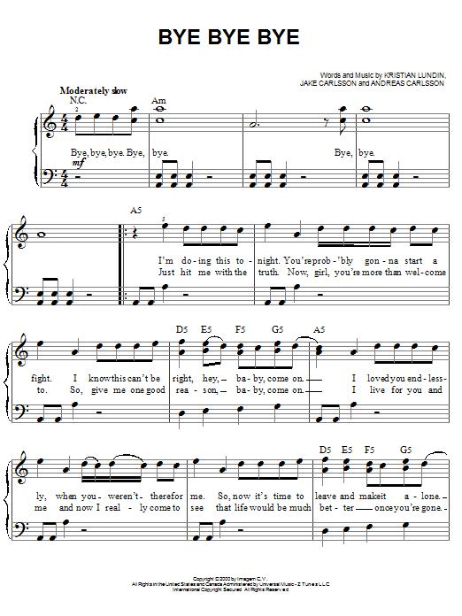 Partition piano Bye Bye Bye de 'N Sync - Piano Facile