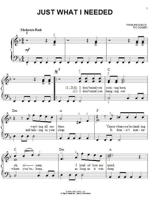 Just What I Needed Sheet Music