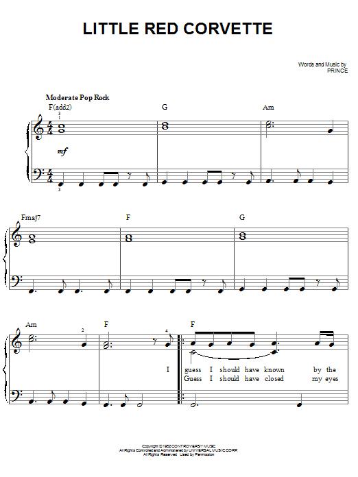 Partition piano Little Red Corvette de Prince - Piano Facile