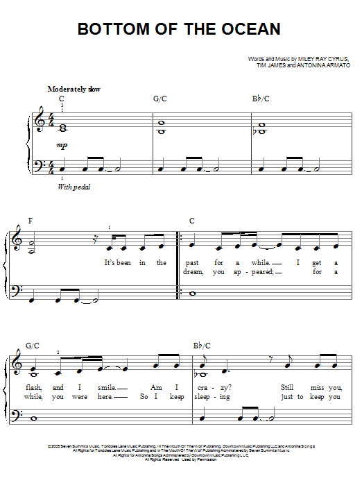 Bottom Of The Ocean Sheet Music