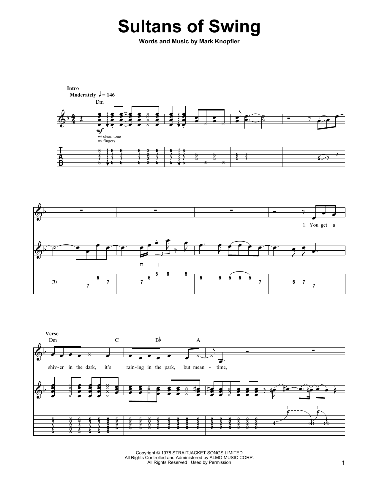 Tablature guitare Sultans Of Swing de Dire Straits - Autre
