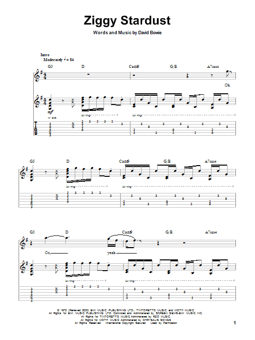 Ziggy Stardust by David Bowie - Guitar Tab Play-Along - Guitar Instructor