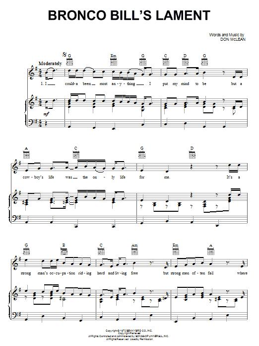 Bronco Bill's Lament Sheet Music