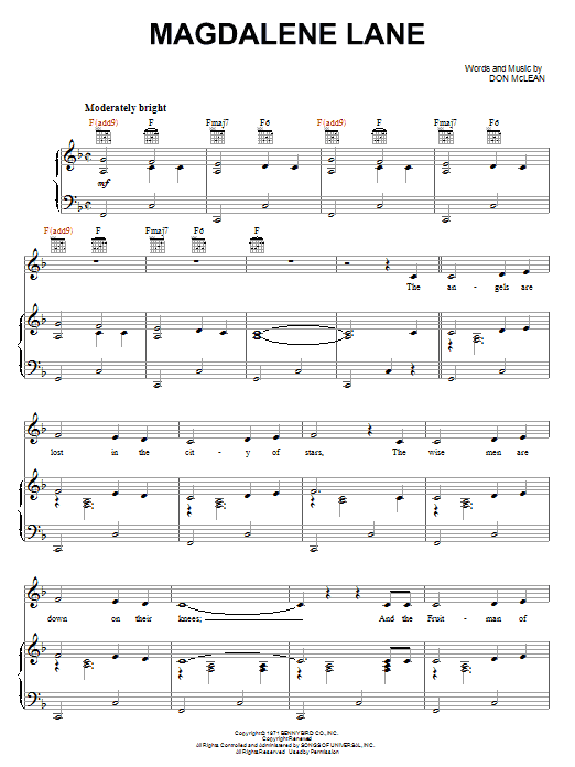 Magdelene Lane (Piano, Vocal & Guitar (Right-Hand Melody))