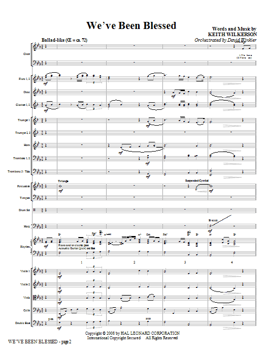 We've Been Blessed (COMPLETE) sheet music for orchestra/band (Orchestra) by Keith Wilkerson. Score Image Preview.