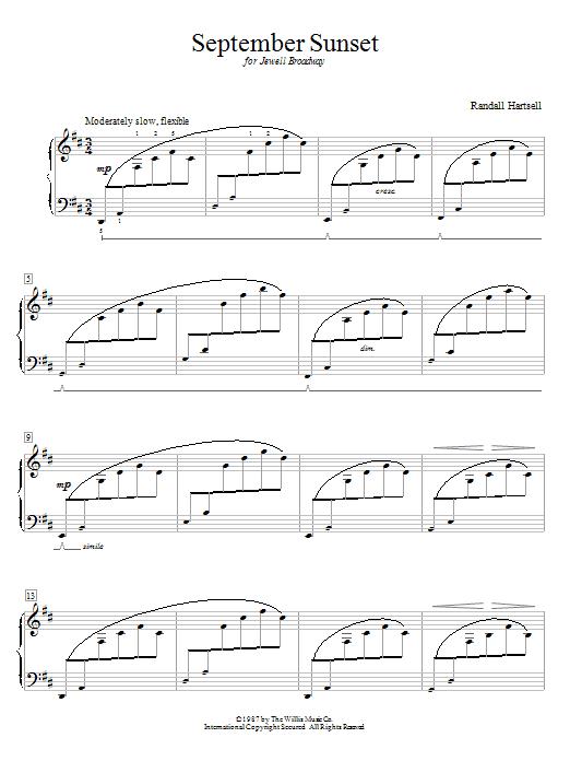 Partition piano September Sunset de Randall Hartsell - Autre
