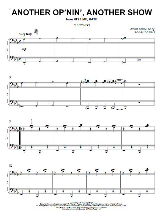 Another Op'nin', Another Show Sheet Music