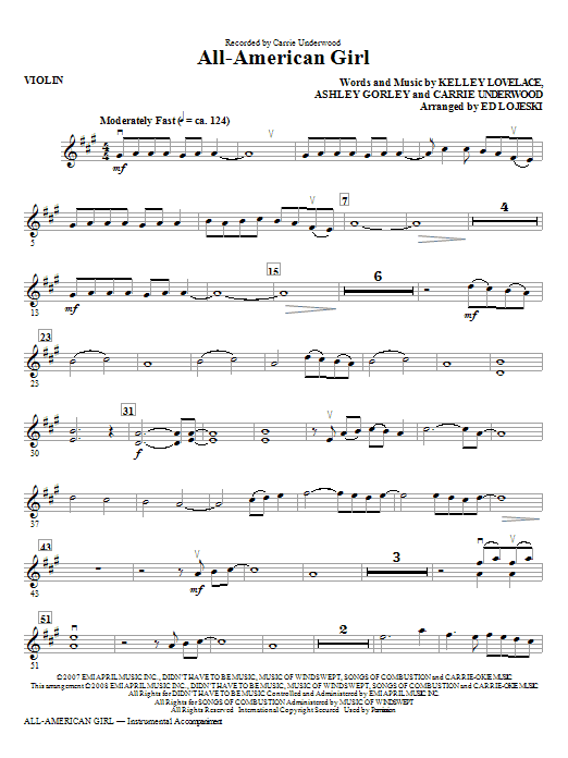 All-American Girl (complete set of parts) sheet music for orchestra/band (Strings) by Carrie Underwood, Ashley Gorley, Kelley Lovelace and Ed Lojeski. Score Image Preview.