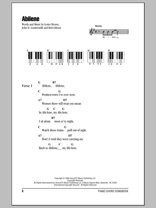 Abilene (Piano Chords/Lyrics)
