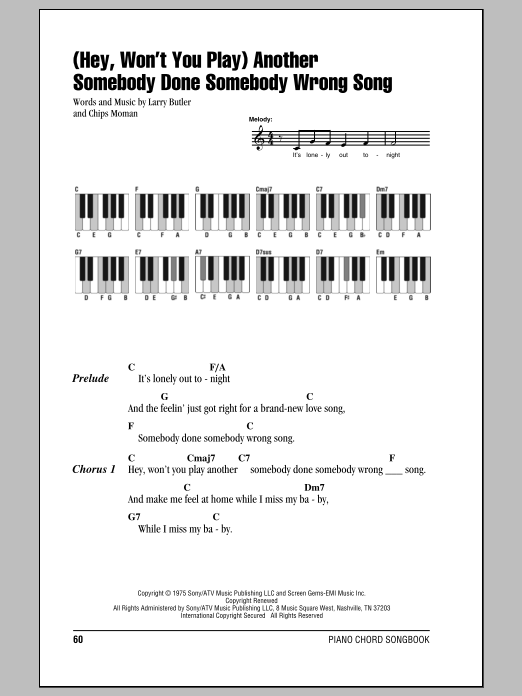 (Hey, Won't You Play) Another Somebody Done Somebody Wrong Song (Piano Chords/Lyrics)