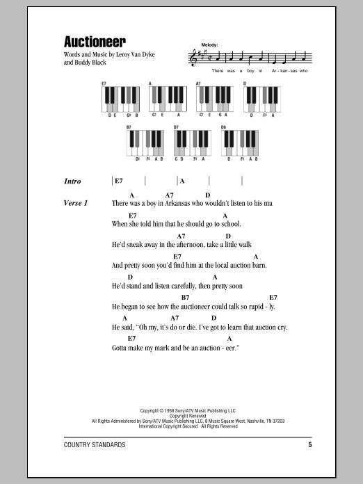 Auctioneer (Piano Chords/Lyrics)