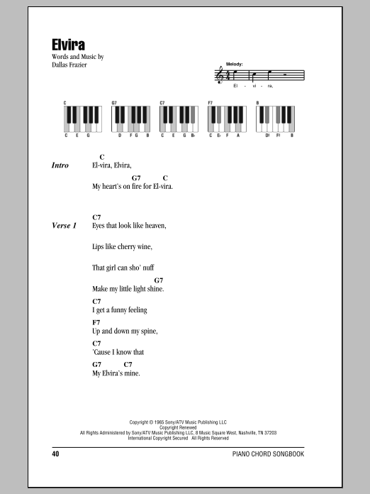 Elvira (Piano Chords/Lyrics)