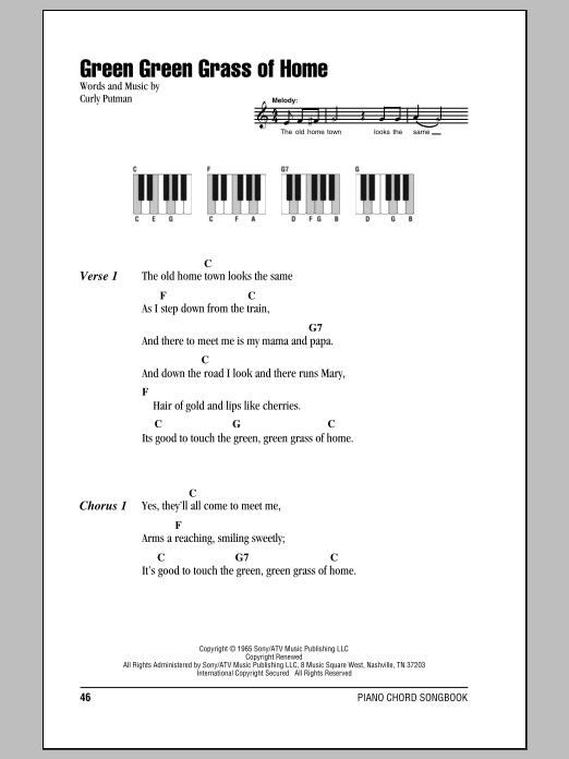 Green Green Grass Of Home (Piano Chords/Lyrics)