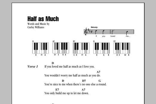 Half As Much (Piano Chords/Lyrics)