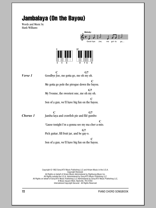 Jambalaya (On The Bayou) Sheet Music
