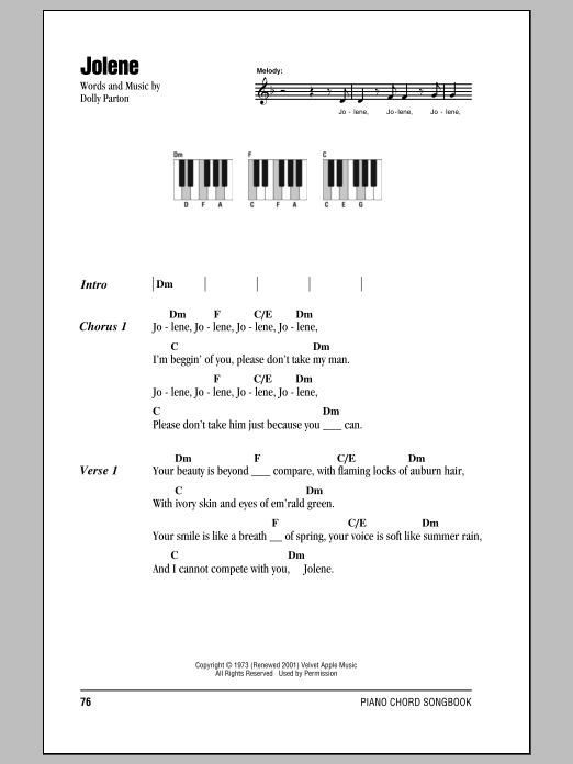 jolene sheet music dolly parton piano chords lyrics. Black Bedroom Furniture Sets. Home Design Ideas