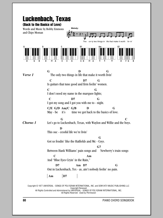 Luckenbach, Texas (Back To The Basics Of Love) Sheet Music