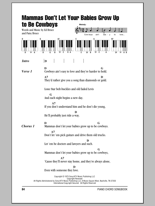 Mammas Don\'t Let Your Babies Grow Up To Be Cowboys | Sheet Music Direct