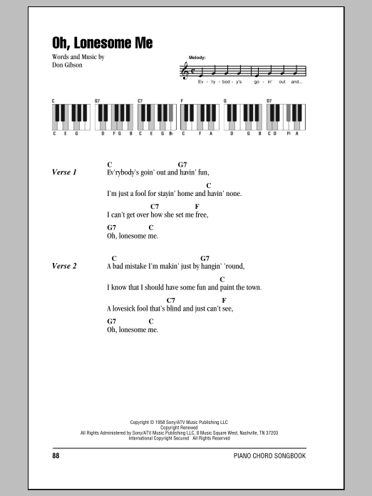 Oh, Lonesome Me (Piano Chords/Lyrics)