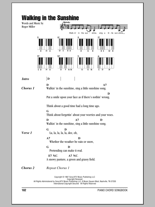 Walking In The Sunshine Sheet Music