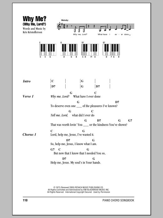 Why Me Why Me Lord Sheet Music Direct