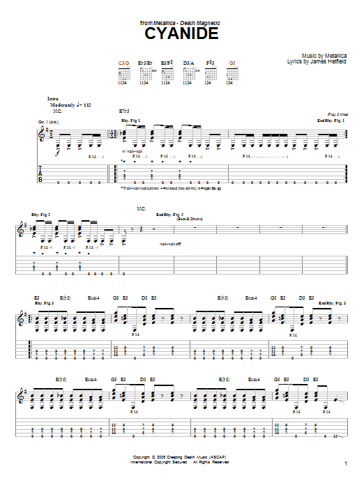 Tablature guitare Cyanide de Metallica - Tablature guitare facile