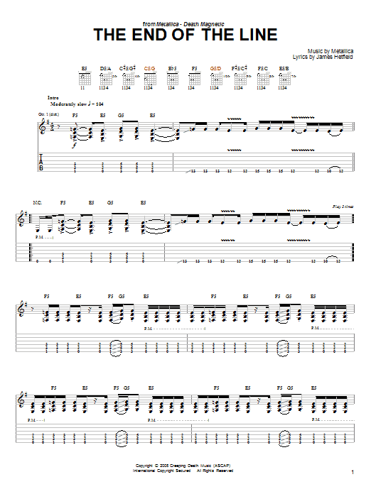 Tablature guitare The End Of The Line de Metallica - Tablature guitare facile