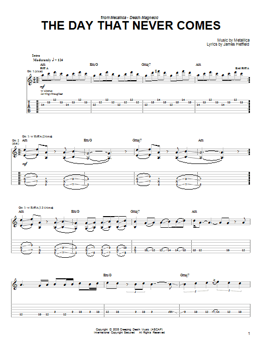 Tablature guitare The Day That Never Comes de Metallica - Tablature guitare facile