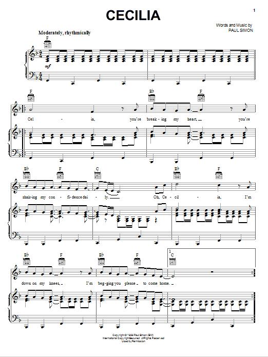 Partition piano Cecilia de Simon & Garfunkel - Piano Voix Guitare (Mélodie Main Droite)