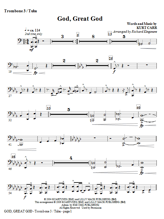 God, Great God - Trombone 3/Tuba Sheet Music