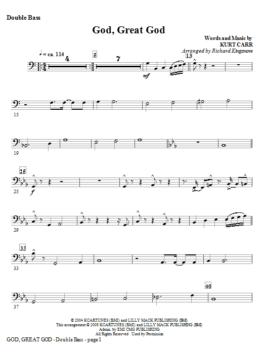 God, Great God - Alto Sax (Horn sub) Sheet Music