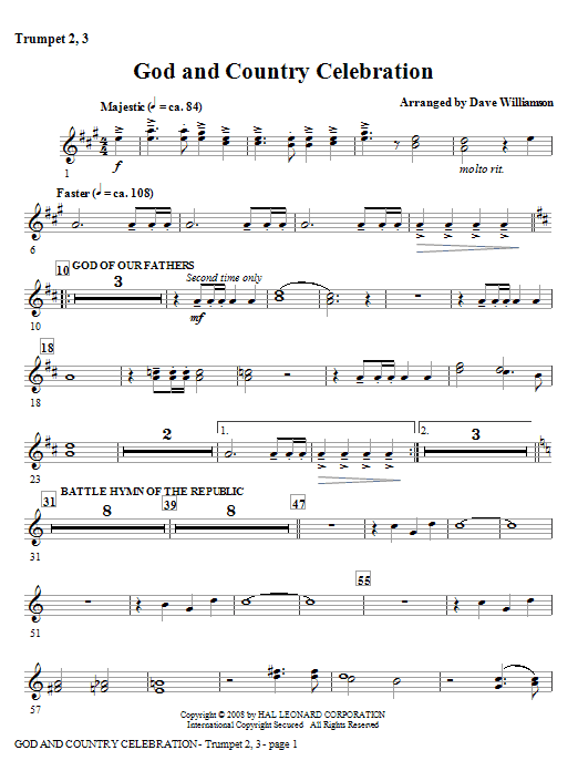 God And Country Celebration (Medley) - Bb Trumpet 2,3 Sheet Music