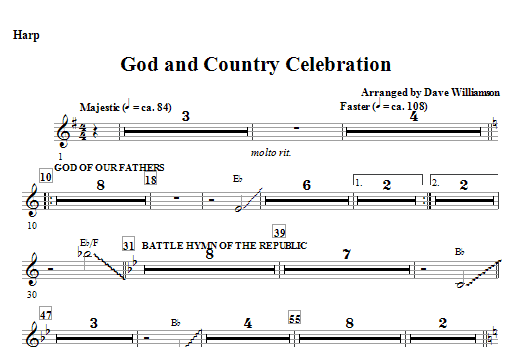 God And Country Celebration (Medley) - Harp Sheet Music